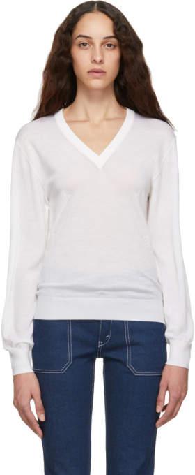 White Wool V-Neck Sweater