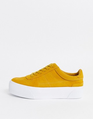 Asos DESIGN Depart suede chunky trainers in mustard