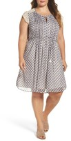 Daniel Rainn Plus Size Women's Lace Sleeve Print Dress