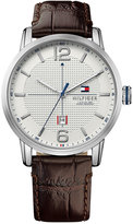 Tommy Hilfiger Men's Casual Sport Brown Leather Strap Watch 44mm 1791217