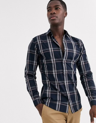 Jack and Jones window pane shadow check shirt in navy