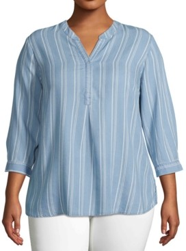 John Paul Richard Plus Size Striped Chambray Top