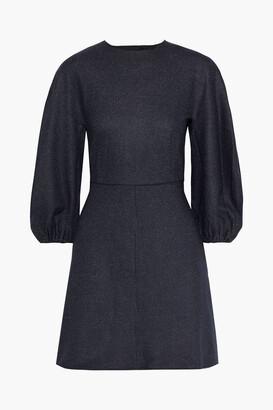Tibi Button-detailed Pinstriped Wool And Cotton-blend Mini Dress