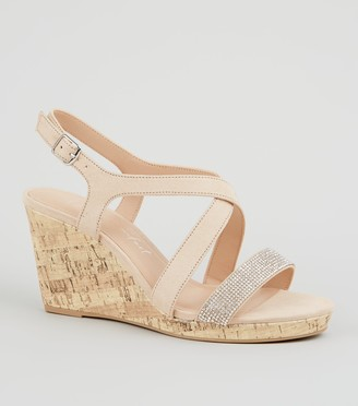 New Look Wide Fit Suedette Diamante Wedges
