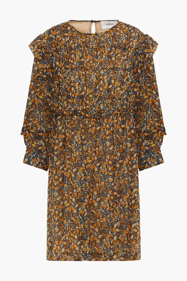 Thumbnail for your product : BA&SH Sandra Ruffle-trimmed Printed Georgette Mini Dress
