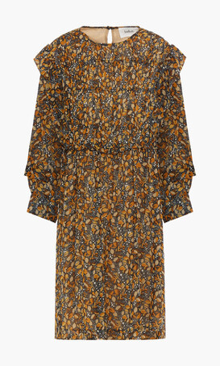 BA&SH Sandra Ruffle-trimmed Printed Georgette Mini Dress