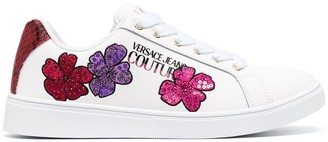 Versace Jeans Couture Floral-Embroidered Low-Top Sneakers