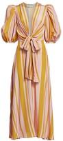 Silvia Tcherassi Fidelia Puff-Sleeve Silk Midi Dress