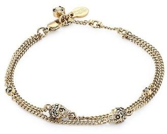 Alexander McQueen Goldtone Multi-Chain Crystal Skull Charm Bracelet
