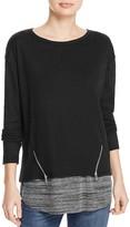Vintage Havana Layered-Look Zip Sweatshirt