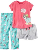 Carter's Baby Girl Graphic Tee, Striped Shorts & Print Pants Pajama Set