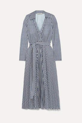 Valentino Printed Stretch-jersey Wrap Dress - Blue