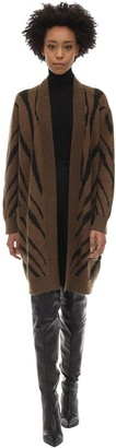 Max Mara Zebra Print Mohair Blend Knit Cardigan