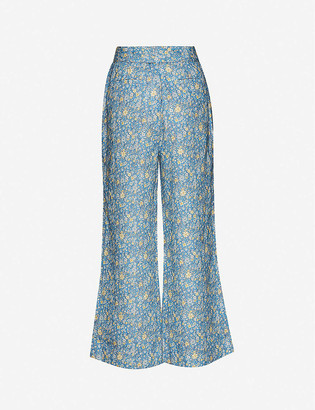 Zimmermann Carnaby floral-print flared high-rise linen trousers