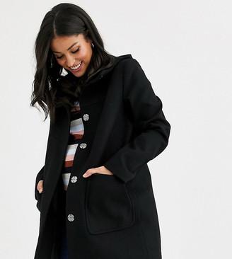 Asos DESIGN Maternity hooded slim coat in black