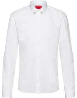 HUGO BOSS Cotton Extra Slim Fit Shirt With Collar Hardware - White