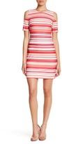 Calvin Klein Striped Cold Shoulder Dress (Petite)
