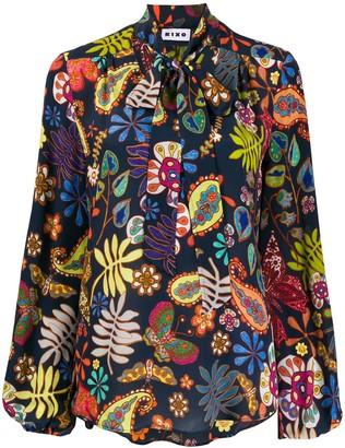 Rixo Scarf Neck Paisley Print Silk Blouse