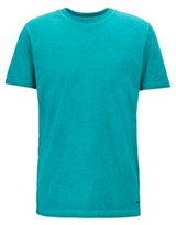 HUGO BOSS - Crew Neck T Shirt In Garment Dyed Single Jersey Cotton - Blue