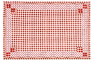 D'Ascoli Set Of Four Ionna Gingham Linen-blend Placemats - Red Print
