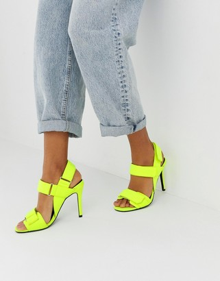 ASOS DESIGN Hazelnut sporty heeled sandals in neon yellow