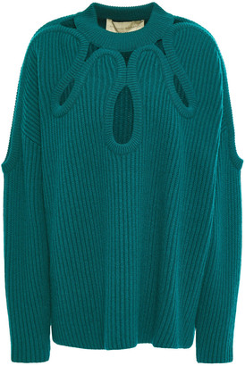Antonio Berardi Cutout Ribbed Merino Wool And Cashmere-blend Sweater