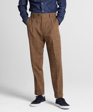 Todd Snyder Brown Houndstooth Wool Pleated Madison Trouser