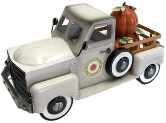 Overstock Country Style Metal Truck with Pumpkins in Antique White - 8.6x18x10