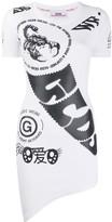 GCDS logo print asymmetric T-shirt dress