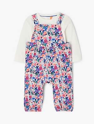 John Lewis & Partners Baby GOTS Organic Cotton Floral Print Dungaree Set, Multi