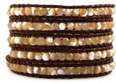 Chan Luu Natural Mother of Pearl Wrap Bracelet on Brown Leather