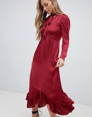 Forever New plunge front midi dress with ruched sleeve and pussybow in burgundy-Red