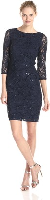 Marina Women's 3/4 Sleeve Floral Lace Dress with Side Pleating