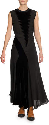 Loewe Velvet-Patchwork Maxi Dress