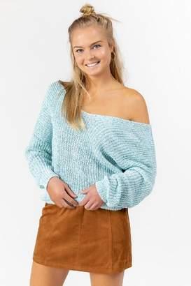 francesca's Ardena Twist Back Sweater - Aqua