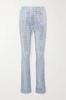 we11done Sequin-embellished Metallic Ribbed-knit Skinny Pants