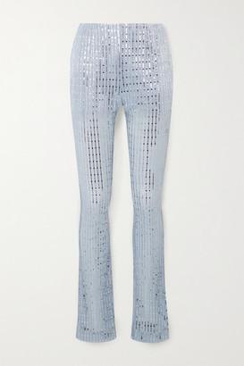 we11done Sequin-embellished Metallic Ribbed-knit Skinny Pants - Sky blue