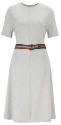 BOSS Short-sleeved dress with striped logo belt