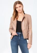 Bebe Faux Leather Peplum Jacket