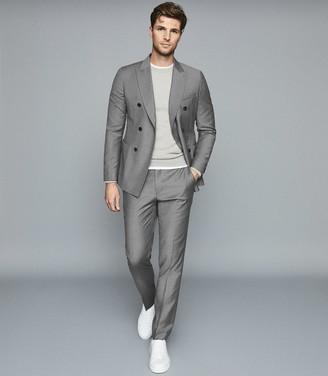 Reiss Woking - Wool Double Breasted Blazer in Soft Grey