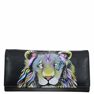 Anna by Anuschka Tri-Fold Clutch Wallet - Genuine Leather - Lion Pride