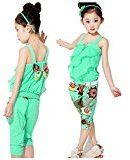 Baby Girl Clothes Set ,Fheaven Sunflowe Ethnic Style Sleeveless Ruched T-Shirt + Pants Outfits (3T, Green)