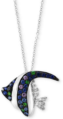 Effy Seaside by Multi-Gemstone (3/8 ct. t.w.) & Diamond Accent Angle Fish Pendant Necklace in 14k White Gold