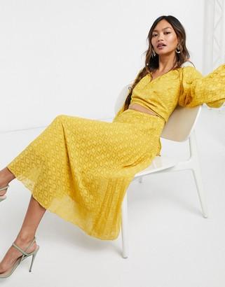 ASOS DESIGN tie wrap around pleated midi dress in dobby in mustard