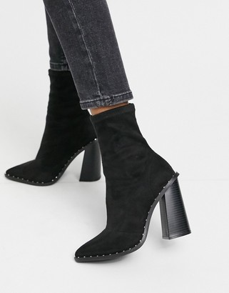 New Look Studded Suedette Heeled boots in black