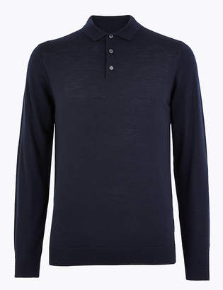 M&S CollectionMarks and Spencer Pure Extra Fine Merino Wool Polo Shirt