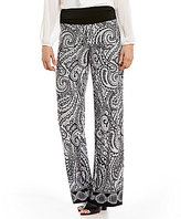I.N. Studio Swirl Border Print Knit Pull-On Pants