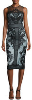 Theia Sleeveless Two-Tone Illusion Embroidered Lace Cocktail Dress