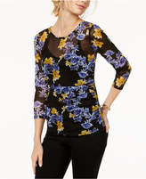 INC International Concepts I.n.c. Printed 3/4-Sleeve Illusion Mesh Top, Created for Macy's