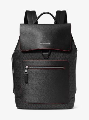 Michael Kors Hudson Logo and Crossgrain Leather Backpack